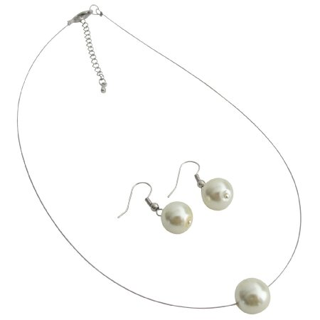 UNS157 Perfect Collection Single Ivory Pearl Necklcae Earrings Set