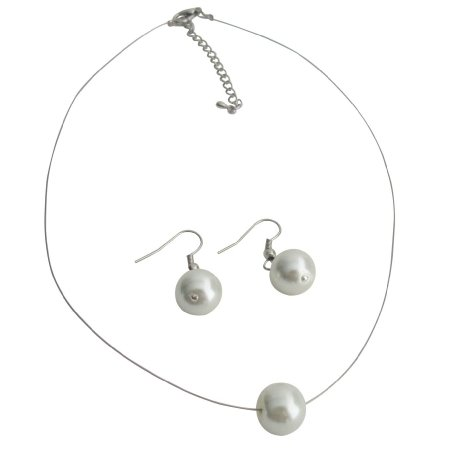 UNS160 Impressive White Single Pearl Lovely Necklcae Earrings Set