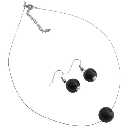 UNS153 Gorgeous Pearl Necklace Earrings Black Pearl Elegance Jewelry