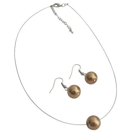 UNS154 Ultimate Wedding Jewelry Bronze Single Pearl Necklace Earrings