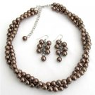 NS1320 Twisted Necklace Brown Pearls Bridesmaid Jewelry Set Other Colors Available