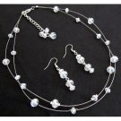 NS1283 Bridal Bridesmaid AB Crystals Glass Beads Floating Necklace Earrings