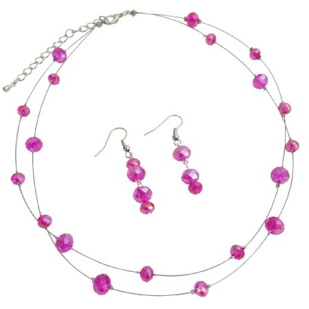 NS1265 Double Stranded Illusion Hot Pink Crystal Necklace Set
