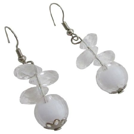 D296 Incredible Price Small Girls Earrings White Earrings