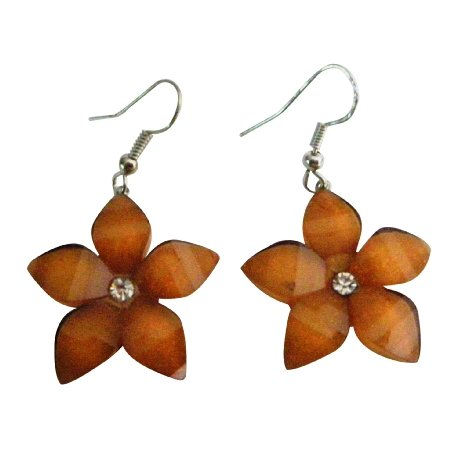 D262 Flower Jewelry Brown Shimmering Earrigns