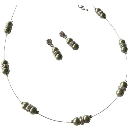 NS1236 Floating Illusion Necklace Green Pearl Earrings Bridesmaid Jewelry