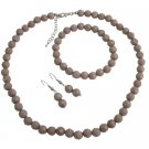 NS1157 Wedding Jewelry Mocha Color Mocha Beads Jewelry Set