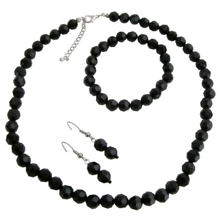 NS1156 Multi-Faceted Bead Necklace Bracelet & Earrings Set