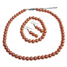 NS625 Striking Orange Pearl Complete Set With Bracelet Wedding Prom Jewelry Set