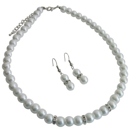 NS1176 All Occasions Gathering Formal Semi Formal White Pearls Jewelry Set