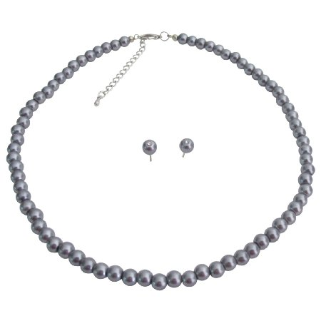 NS1267 Wedding Jewelry Stunning Dark Gray Pearl Necklace Stud Earrings