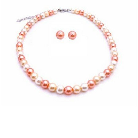 NS880 Fascinate Jewelry Peach Ivory Tangerine Pearls Prom Custom Jewelry Set