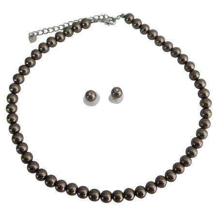 NS216 Bridal Bridesmaid Jewelry Bronze Brown Pearls Necklace Stud Earring