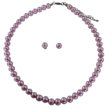 NS291 Wedding Pink Pearls Necklace w/ Stud Earrings Bridesmaid Jewelry