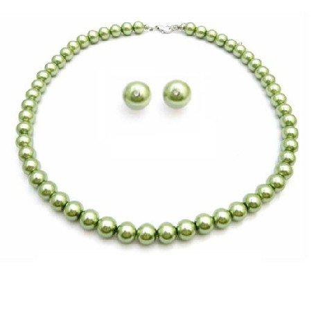 NS835 Inexpensive Peridot Jewelry Green Pearls Wedding Jewelry Set