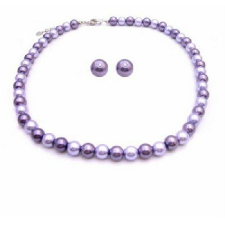 NS826 Prom Jewelry Stud Earrings Lilac & Purple Pearls Necklace Set