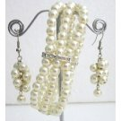 TB1147  Ivory Pearls Rhinestone Stretchable Bracelet 3 Strand Dangling Earrings Jewelry Gift