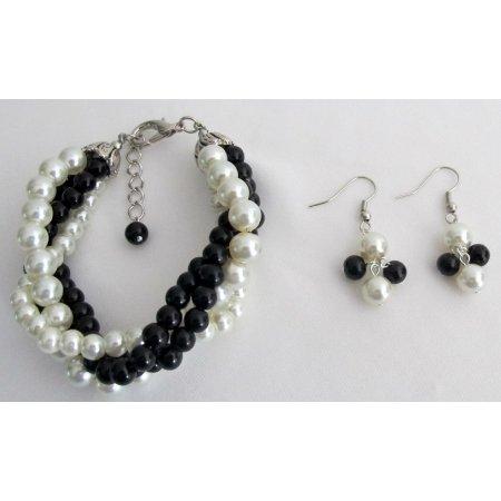 TB1144  Twisted Cluster 4 Strand Bracelet & Earrings Black Ivory Pearl Bracelet