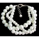 TB1150  White Pearl Twisted Bracelet Bridal Chunky Style Bracelet