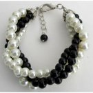 TB1142  Black Ivory Pearl Bracelet Costume Wedding Jewelry 4 Strand Bracelet