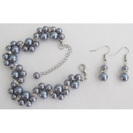 TB1172  Popular Items Bridesmaid Bridal Handmade Customize Gray Jewelry Set