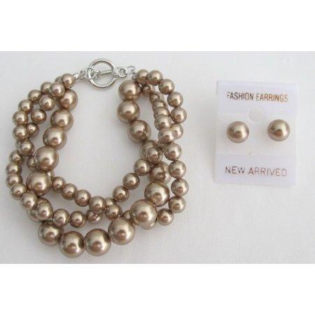 TB1174  Swarovski Bronze Crystal Pearl 3 Strand Bracelet Matching Stud Earrings Bridal Wear