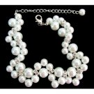 TB1123  Gorgeous Bridal Bracelet Twisted White Pearl Bridesmaid Wedding Gift