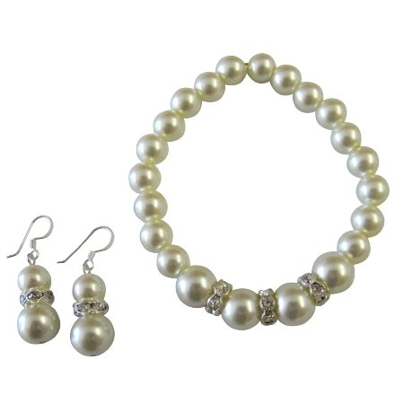 TB1071  Breathtaking Wedding Jewelry In Cream Pearl Bracelet Earrings Set