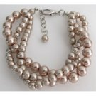 TB1138  Twisted Three Strand Bracelet Champagne Pearl Bridemsaid Jewelry