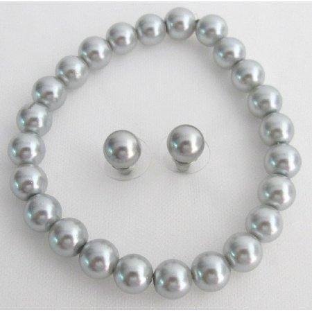 TB1134  Classy Gray Pearls Stretchable Bracelet Stud Earrings School Jewelry