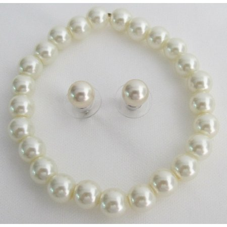 TB1135  Classic Pearl Stretchable Bracelet Ivory Pearl Stud Earrings