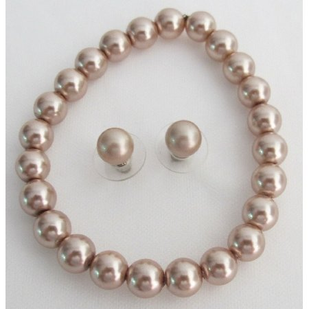 TB1127  Fascinating Gift Bridesmaid Maid Of Honor Champagne Pearls Jewelry
