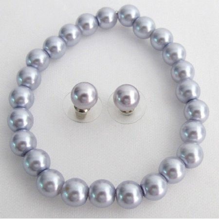 TB1132  Stretchable Bracelet Stud Earrings Lavender Pearls Excellent Wedding Jewelry