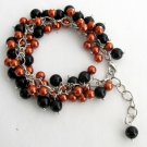 TB1177  Halloween Style Bracelet Cluster Beaded Chunky Orange Black Pearls