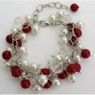 TB1176  Christmas Holiday Wear Red Ivory Pearls Cluster Bracelet With Clear Crystals