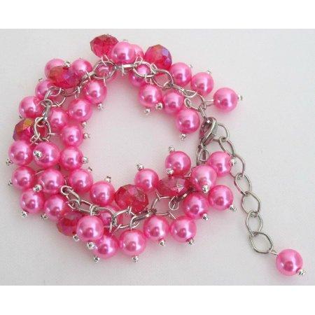 TB1112  Fuchsia Jewelry Stunning Chunky Bracelet Wedding Gift