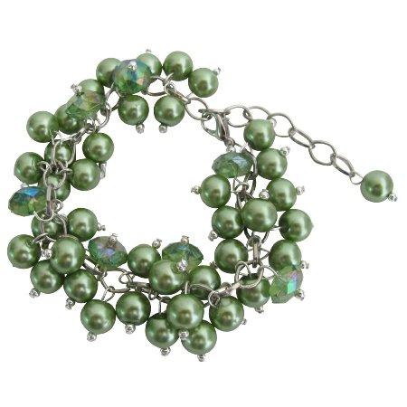 TB1110  Kelly Green Wedding Bridesmai Bracelet Jewelry Stunning Style