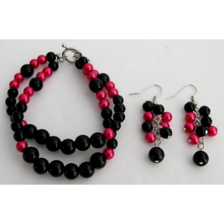 TB1121  Gorgeous Magenta Black Pearls Bracelet Earrings Set
