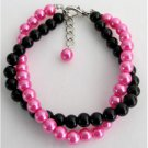 TB1156  Black And Fuchsia Pearls Jewelry Twisted Bracelet Gift