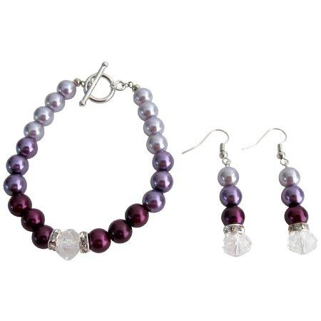 TB1116  Modern Desing Wedding Jewelry In Plum Color Bracelet Earrings Set