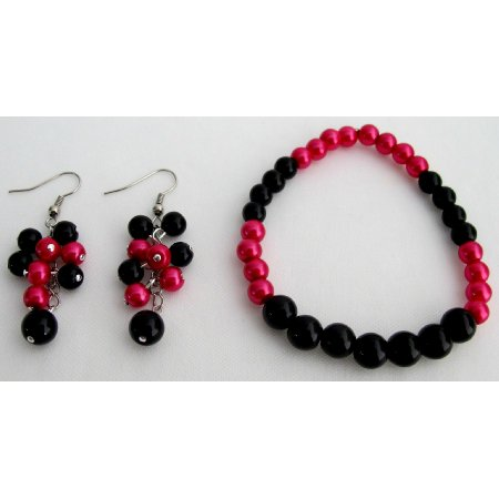 TB1122 Stunning Stretchable Brcelet Grape Earrings Magenta Black Pearls