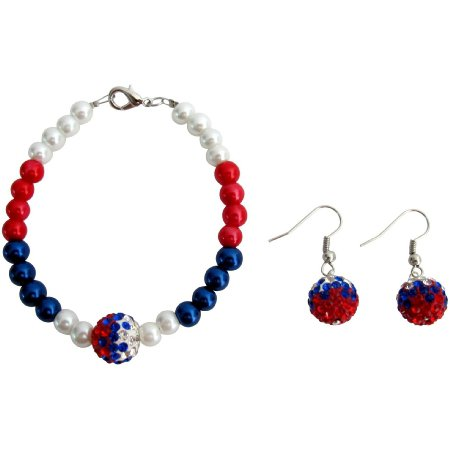 TB1120  July Patriotic Bracelet Military Mom Jewelry Red White Blue And Pave Ball