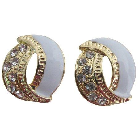 UER699  Beautiful Graceful Eye catching Earrings White Gold Fancy Stud Earrings