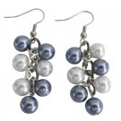 UER716 White Gray Pearl Jewelry Cluster Earrings Wedding Earrings