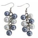 UER716 White Gray Pearl Jewelry Cluster Earrings Wedding Earrings