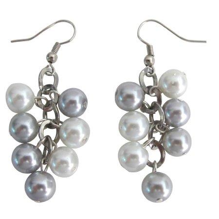 UER717 Cluster Earrings Bridesmaid Silver Gray Pearl Earrings With White Pearl Wedding Earrings