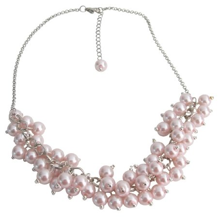 N1082 Pink Pearl Cluster Neckace Pink Chunky Pearls Necklace