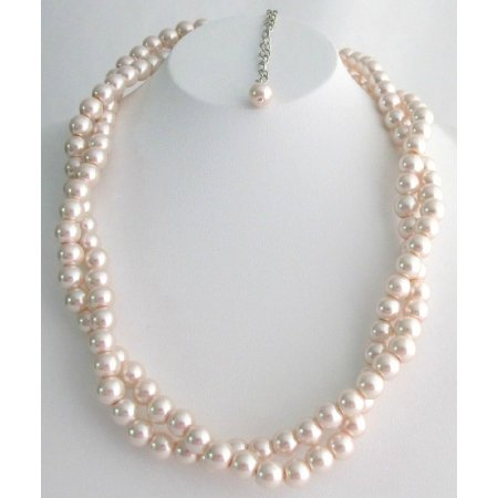 N1115 Baby Pink Wedding Necklace Twisted Double Strand Necklace