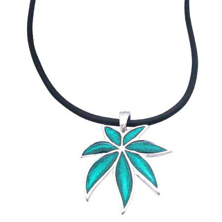 UNE160 Weed Metal Pendant Necklace Black PVC Durable Chord Jewelry