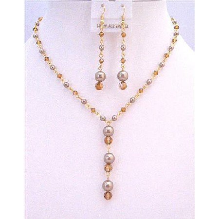 BRD878  Copper Swarovski Crystals Jewelry Set Pearls In Gold Plated Chain